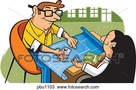 Disegno uno uomo consegnare uno assegno a uno for Costruttore di casa gratuito