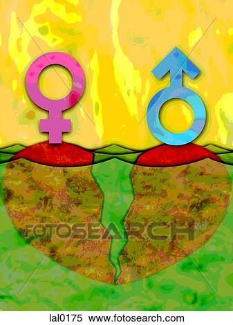 Stock Illustration Of Female And Male Symbols On Two Opposite Sides
