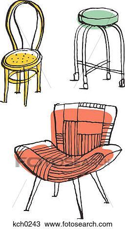 手绘图 三, 椅子, 对, 白的背景