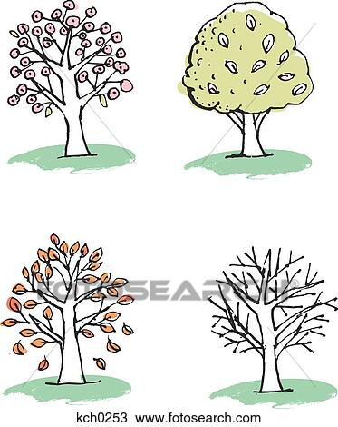 Dessin quatre arbres repr senter les saisons kch0253 recherchez des cliparts des - Dessin 4 saisons ...