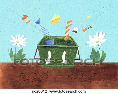 Clip Art of Putting food scraps into a composting bin noz0012 ...