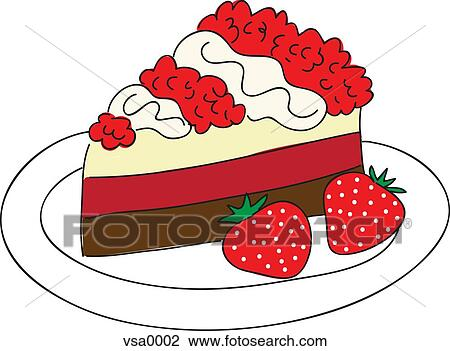 Clip Art of A slice of cake with a side of strawberries ...