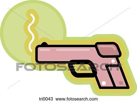 Drawing of smoking gun tri0043 - Search Clipart ...