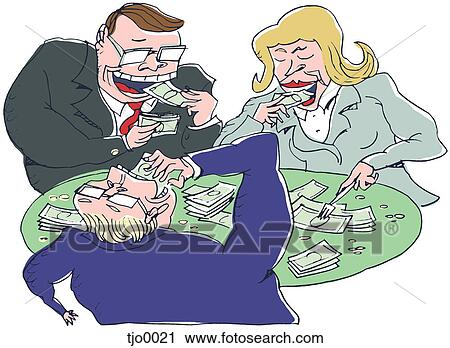 Clipart of business people eating money tjo0021 - Search Clip Art ...