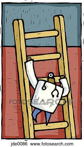Stock illustration of doctor climbing up a ladder jde0086 for House doctor ladder