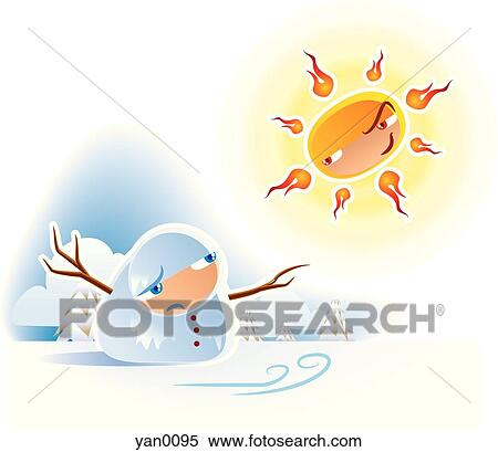 Stock Illustration of Snowman melting in sun x75523239 - Search ...