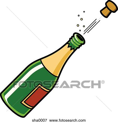 stock illustration of champagne sha0007 search eps clipart rh fotosearch com champagne bottle black and white clipart champagne bottle black and white clipart