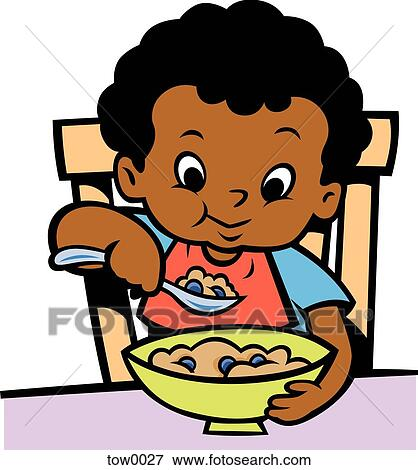 stock illustration of little boy eating cereal tow0027 search eps rh fotosearch com eating clip art free clipart eating dinner