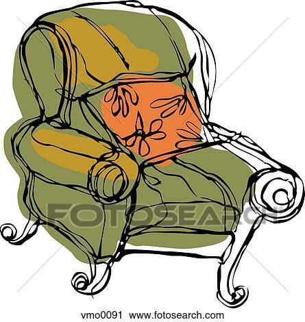 Clipart Of Big Comfy Chair Vmo0091