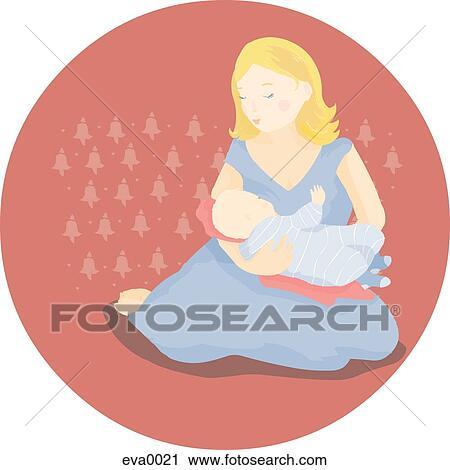 Clipart of breastfeeding eva0021 - Search Clip Art, Illustration ...