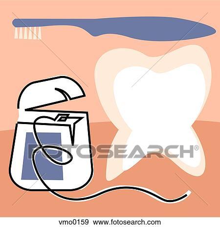 Stock Illustration of Dental floss, toothbrush and molar vmo0159 ...