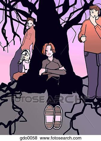Free Illustration Teens Hanging 68