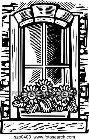 Fenster clipart schwarz weiß  Zeichnung - fenster- kasten, von, blumen, schwarz weiß szo0403 ...