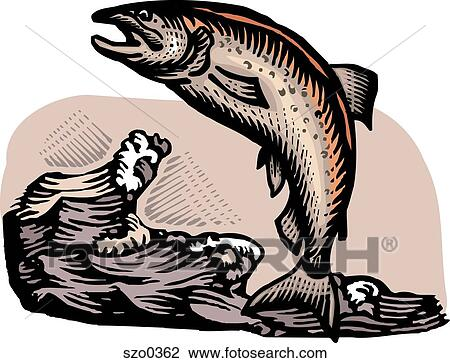 Clip Art Of Fish Jumping Out The Water Szo0362