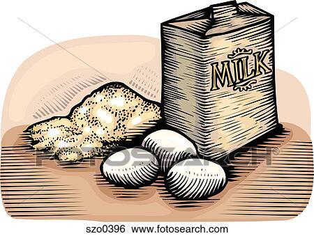 Banque d 39 illustrations farine oeufs et lait szo0396 recherche de clip arts de dessins d - Coloriage farine ...