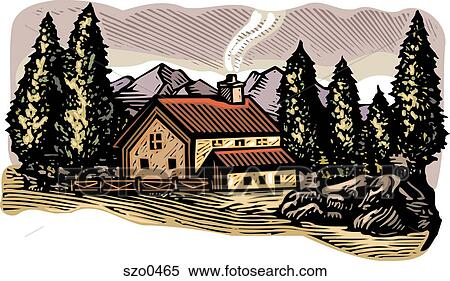 Stock Illustration of cabin in the woods szo0465 - Search ...