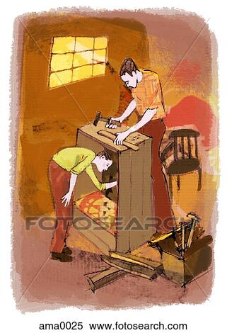 Charming Stock Illustration   Father And Son Building A Piece Of Furniture.  Fotosearch   Search Clipart
