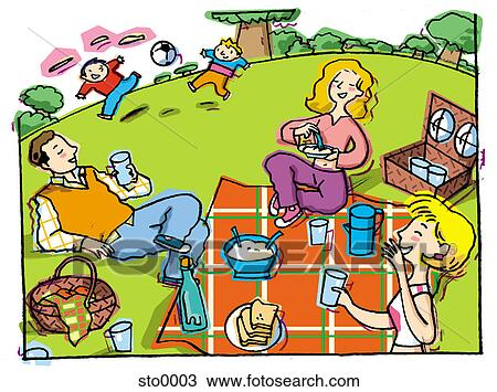 drawing of family picnic sto0003 search clipart illustration rh fotosearch com family picnic clipart images family picnic clipart free