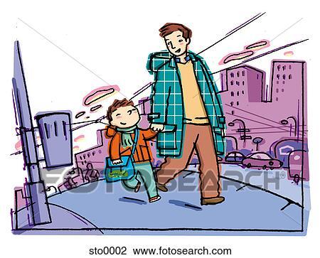 Clip art padre figlio camminare scuola sto0002 cerca for Scuola clipart