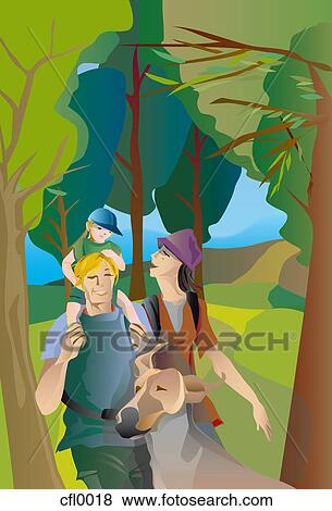 Stock Illustration Of An Illustration Of A Family Walking In A