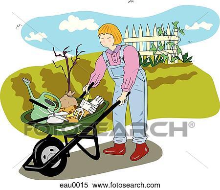 Banque d 39 illustrations a jardinier a brouette for Recherche jardinier