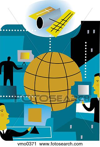 Clipart of Satellite communication for business, montage ...