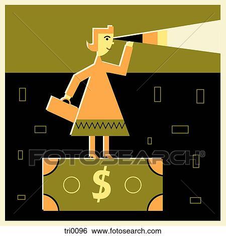写真素材・動画素材・イラスト素材女, 上に, ドル, 手形, 見ること, a, 望遠鏡 イラスト