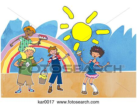 stock illustration kids painting a rainbow fotosearch search eps clipart drawings - Pictures Of Kids Painting