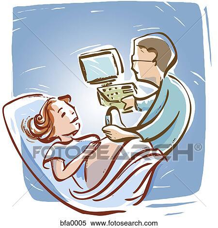 abbildung ultraschall retro schwangerschaft karikatur abschirmung