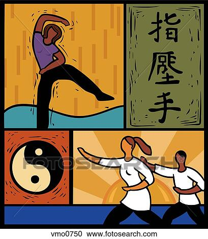 Stock Illustrations of Illustration of people doing tai chi and ...