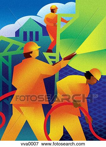 Stock Illustration of Men applying stucco to a building ...