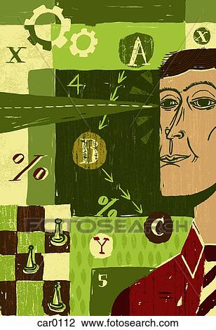 Clip Art Of Collage Of A Man Standing Beside A Chess Set Numbers