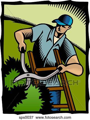 stock illustration of a man cutting hedges sps0037. Black Bedroom Furniture Sets. Home Design Ideas