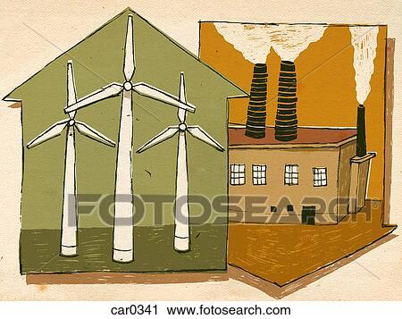 clipart windkraftwerke und rauch stapel car0341 suche clip art illustration wandbilder. Black Bedroom Furniture Sets. Home Design Ideas