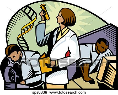 Stock Illustration of Researchers working at a medical ...