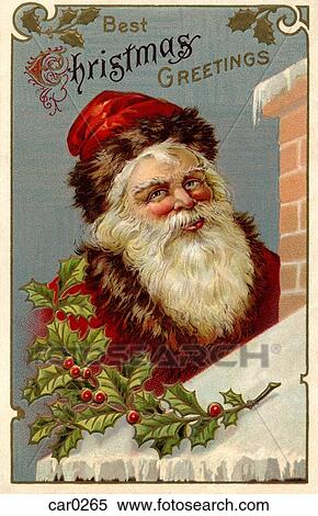 Stock Illustration Of Vintage Christmas Postcard Of Santa