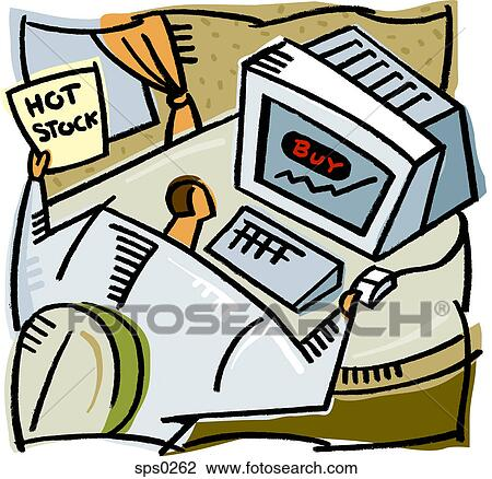 Clip Art - A man buying stocks online. Fotosearch - Search Clipart