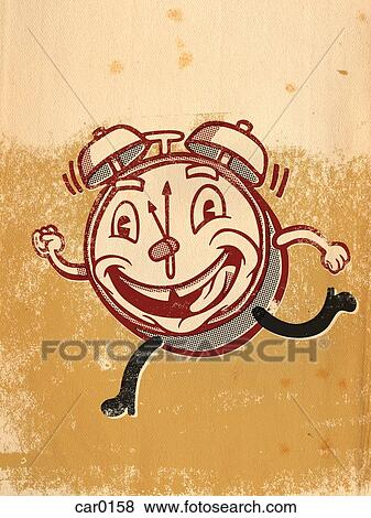 Stock Illustration of A running clock with a face on it car0158 ...