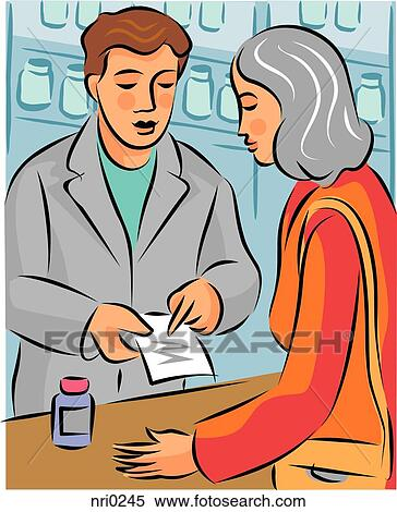 Clip Art Pharmacist Clipart stock illustration of pharmacist explaining prescription a about hormone replacement therapy medication to woman