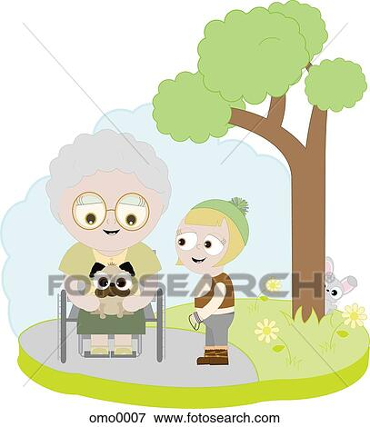 for an elderly woman in a Elderly Woman Walking Drawing