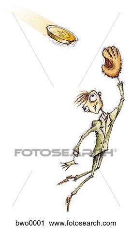 Clipart Of A Businessman With A Catchers Mitt Catching A