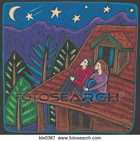 Stock Illustration Of A Couple Sitting On The Roof Of A