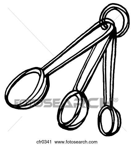 Clipart of A black and white illustration of measuring ...