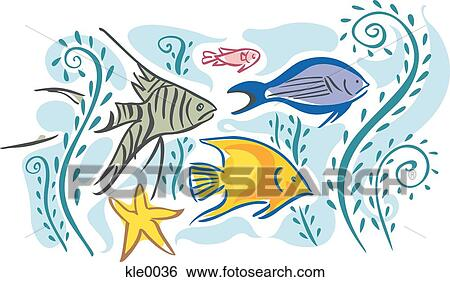 Stock Illustration of Tropical fish swimming in water kle0036 - Search Clip Art ...