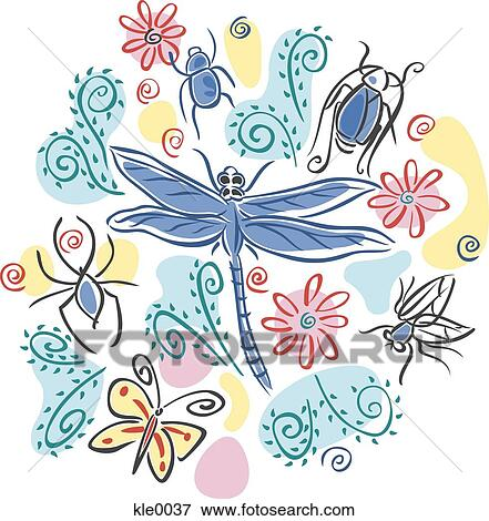 Stock Illustration of Different types of insects kle0037 - Search ...
