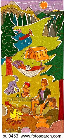Drawing Of A Family Camping And Enjoying A Campfire By A