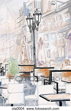 Drawings Of People Sitting On The Outdoor Patio Of A
