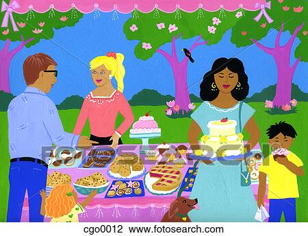Clip Art Of A Painting Of A Bake Sale Cgo0012 Search