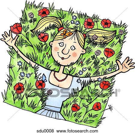 Stock illustratie een vrouw liggende in een akker van wilde
