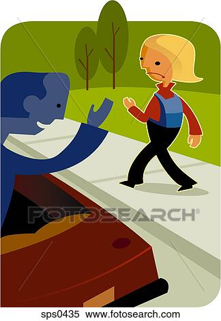 stock illustration of a little girl walking away from a